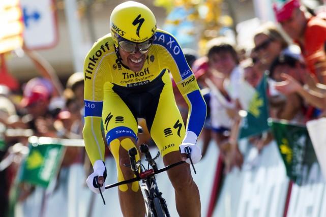 Alberto Contador a terminé quatrième du contre-la-montre, mardi,... (Photo Jaime Reina, AFP)