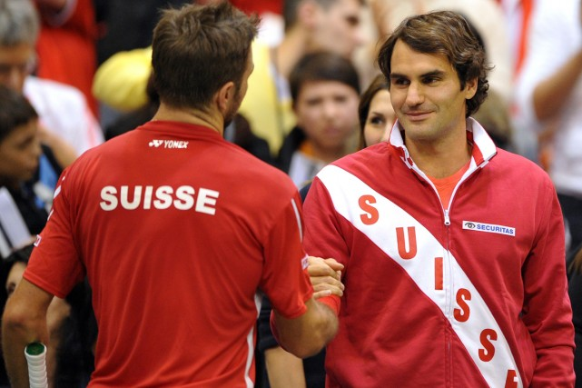 Stanislas Wawrinka et Roger Federer... (Photo Andrej Isakovic, AFP)