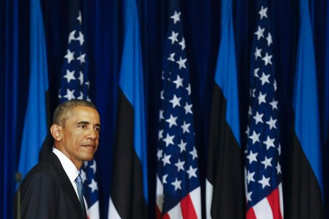 Le président américain Barack Obama, à Tallin, le... (PHOTO MINDAUGAS KULBIS, AP)
