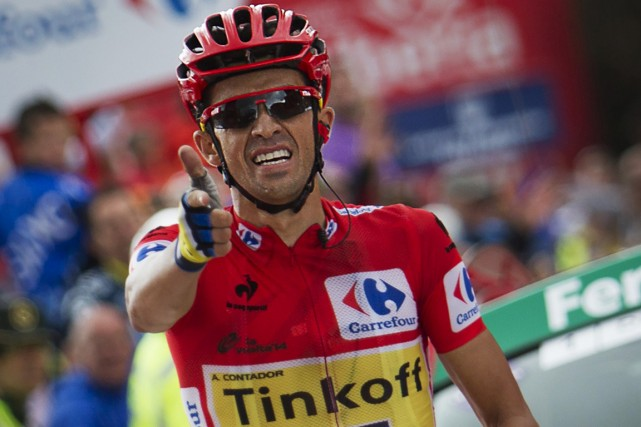 Déjà détenteur du maillot rouge, l'Espagnol Alberto Contador... (Photo Jaime Reina, AFP)
