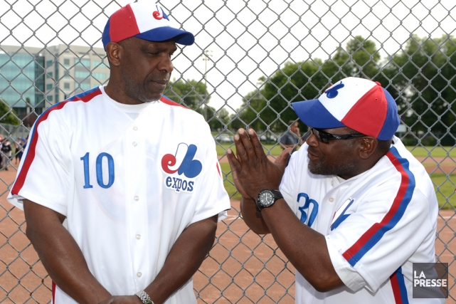 Les anciens joueurs des Expos Andre Dawson et... (Photo Bernard Brault, archives La Presse)