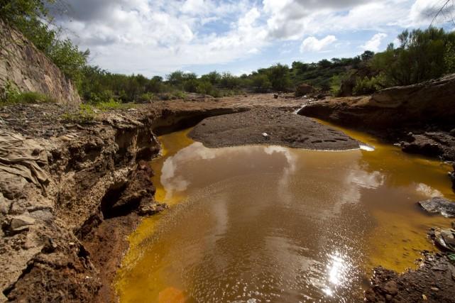 La rivière Sonora, fortement polluée par de l'acide... (Photo archives AFP)