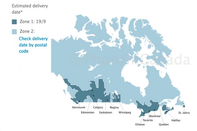 Apple semble avoir quelques difficultés à comprendre la géographie canadienne. (IMAGE TIRÉE DE IPHONEINCANADA.CA)