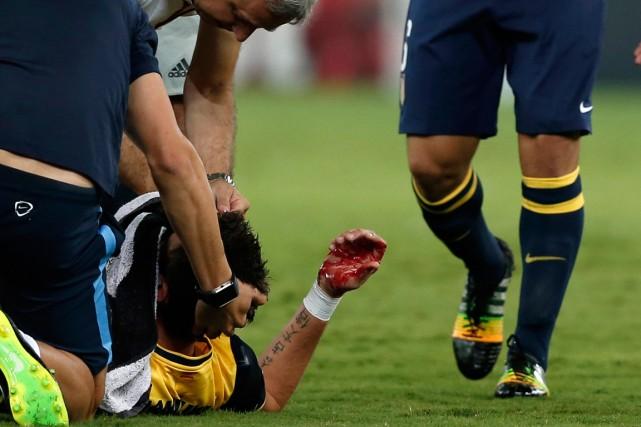 L'attaquant de l'Atletico Madrid Mario Mandzukic est resté... (Photo Yorgos Karahalis, Reuters)