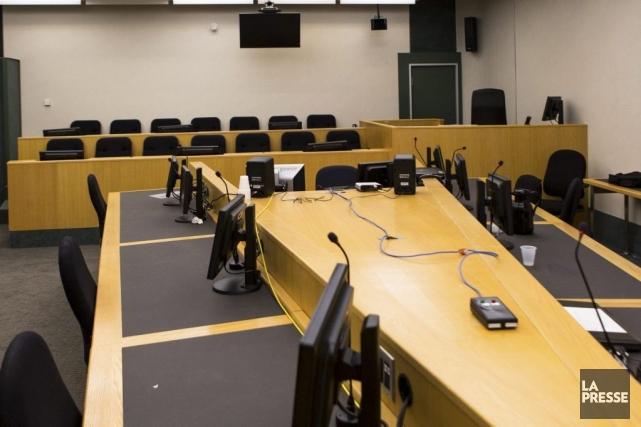 La salle d'audience où se tiendra le procès... (PHOTO SIMON GIROUX, LA PRESSE)