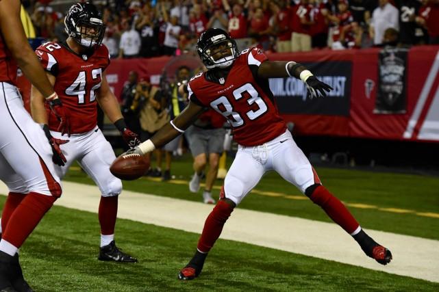 Les joueurs des Falcons d'Atlanta célèbrent dans la... (Photo Dale Zanine, USA Today)
