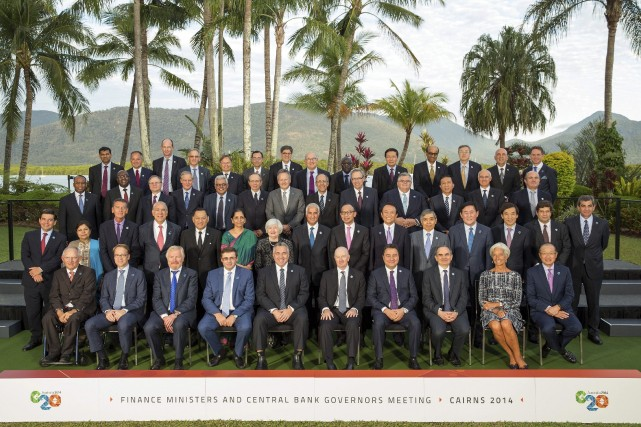 Les ministres des Finances des pays du G20...