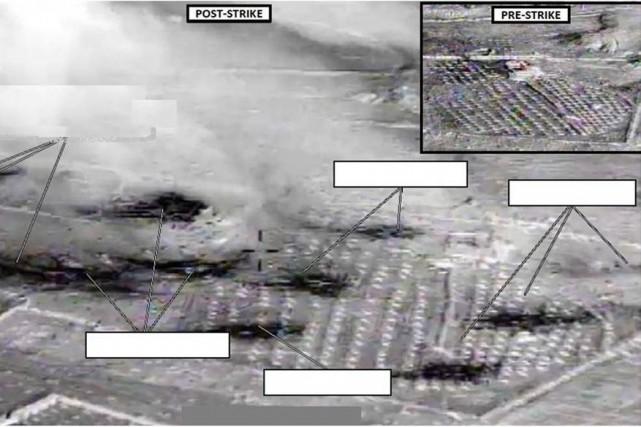 Une image du résultats des frappes en Syrie.... (Photo reuters)