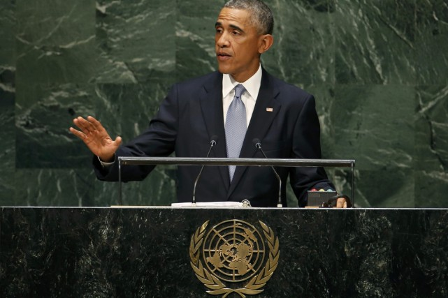 Le président Obama à l'ONU, le 24 septembre.... (PHOTO MIKE SEGAR, REUTERS)