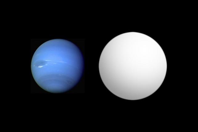 HAT-P-11b (à droite) comparé à la planète Neptune.... (PHOTO WIKIMEDIA)