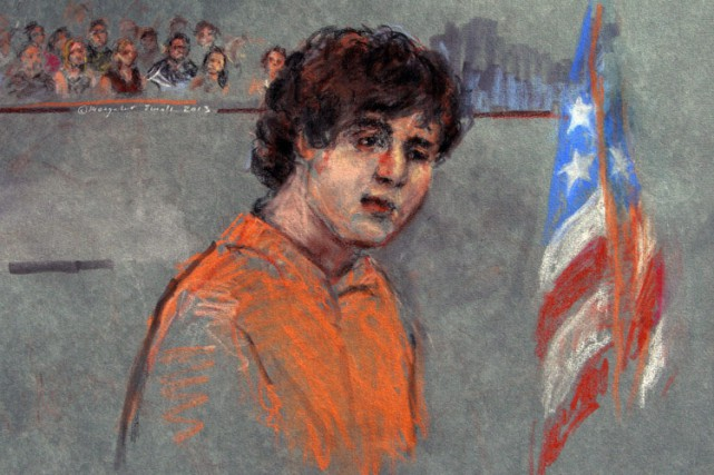 DzhokharTsarnaev en cour fédérale à Boston en juillet... (Archives AP)