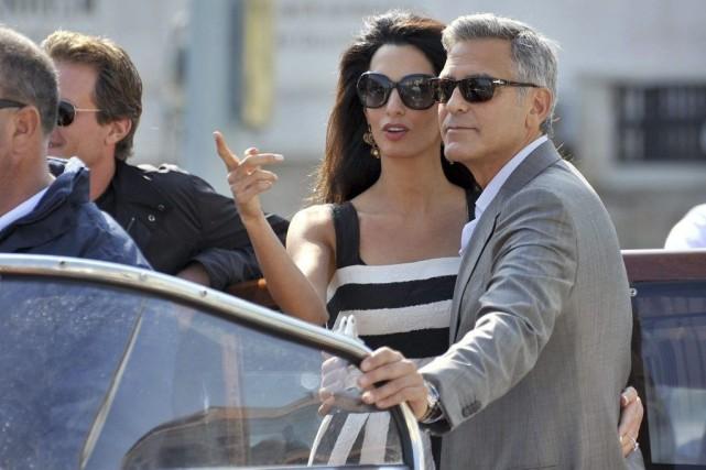 George Clooney et sa fiancée Amal Alamuddin sur... (Photo: AP)