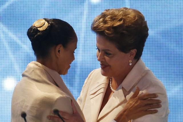 Marina Silva et Dilma Rousseff... (Photo PAULO WHITAKER, ARCHIVES REUTERS)