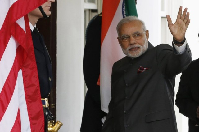Arrivé peu avant 11 h à la Maison-Blanche, Modi... (PHOTO LARRY DOWNING, REUTERS)