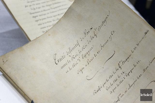 La présentation, au Musée de la civilisation de Québec, du traité de Paris de... (archives Le Soleil)