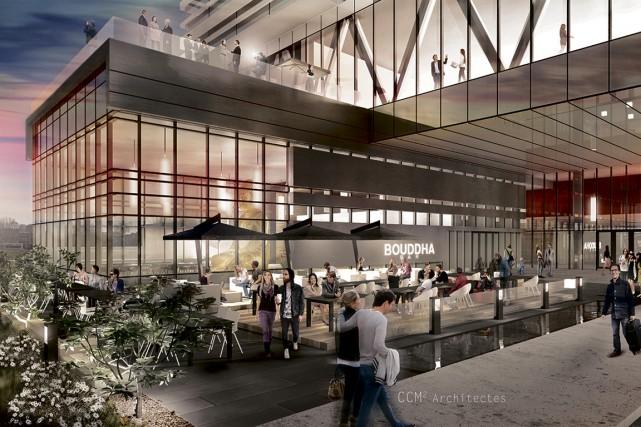 Le projet du Quartier central près de l'amphithéâtre... (ILLUSTRATION FOURNIE PAR GM DÉVELOPPEMENT)