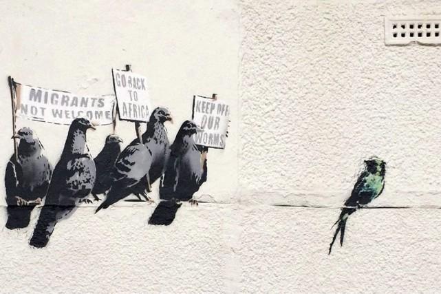 La murale de Banksy qui a été nettoyée... (Photo: AP)