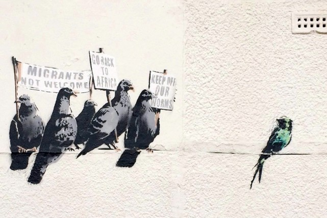 Le dessin de l'artiste de rue mondialement célèbre... (PHOTO AP/BANKSY.CO.UK)