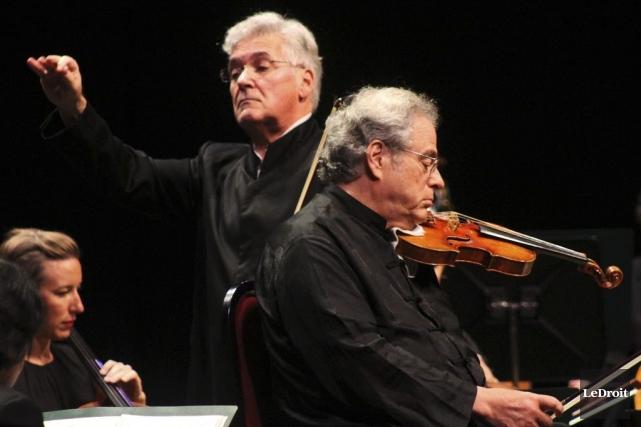 Le chef Pinchas Zukerman et le violoniste Itzhak... (Etienne Ranger, LeDroit)