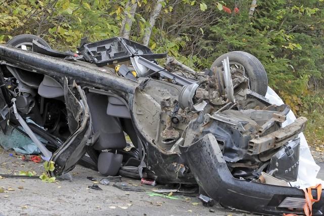 La voiture de la victime a terminé sa... ((Photo Gimmy Desbiens))