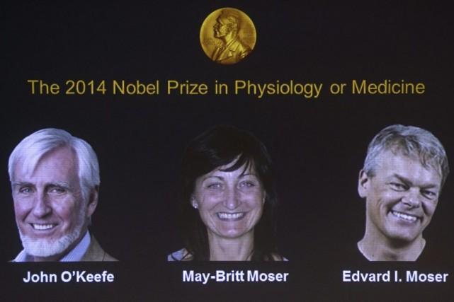 Les lauréats John O'Keefe, May-Britt Moser et Edvard... (PHOTO JONATHAN NACKSTRAND, AFP)