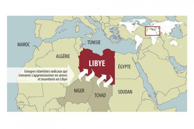 En février 2011, le printemps arabe fleurissait sur nombre de pays arabes. De... (Carte géographique, Martin Rinfret)