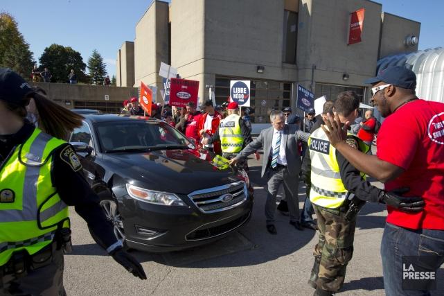 Unrassemblement de la Coalition syndicale pour la libre... (Photo Alain Roberge, La Presse)