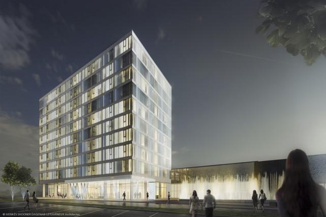 L'hôtel de 140 chambres qui sera greffé au... (PHOTO FOURNIE PAR LA SOCIÉTÉ DE DÉVELOPPEMENT ÉCONOMIQUE DE DRUMMONDVILLE)