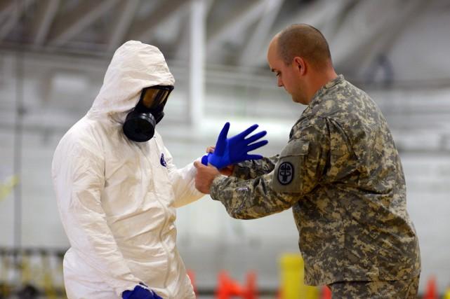 Des soldats américains s'entraînent avant leur déploiement en... (Photo Harrison McClary, Reuters)