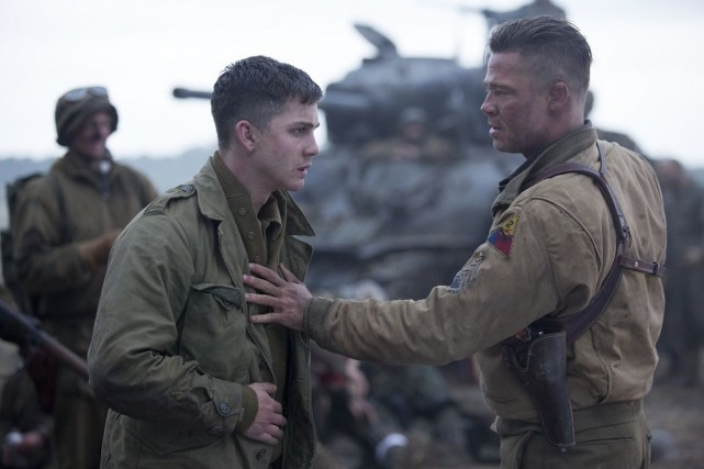 Wardaddy (Brad Pitt) et Norman (Logan Lerman), dans... (Photo fournie par Columbia Pictures)