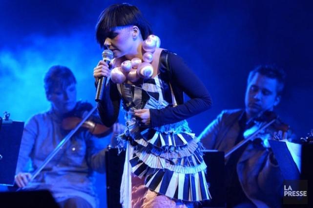 Björk en spectacle à Montréal en 2003.... (Archives La Presse)
