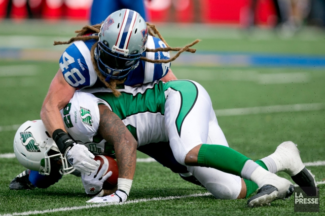 Le secondeur des Alouettes Bear Woods est en... (Photo David Boily, La Presse)