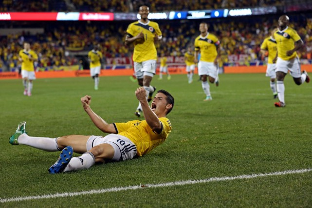 James Rodriguez célèbre après avoir marqué l'unique but... (Photo Adam Hunger, USA Today, Sports)