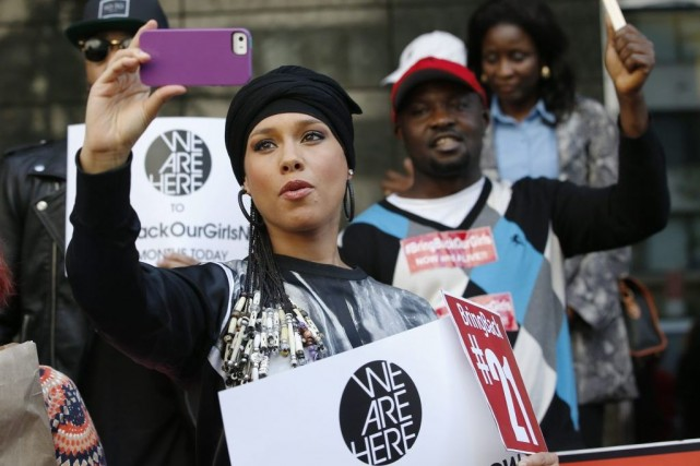 Alicia Keys lors de la manifestation.... (Photo: AP)