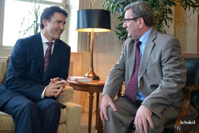 Justin Trudeau a été reçu par Régis Labeaume... (Le Soleil, Yan Doublet)