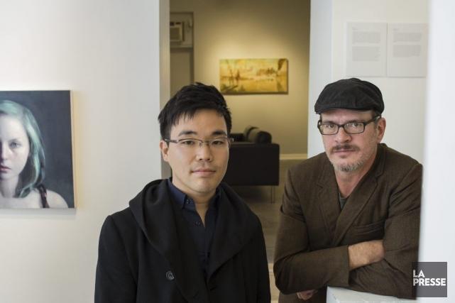 Les peintres torontois Keita Morimoto et Patrick DeCoste... (Photo: Édouard Plante-Fréchette, La Presse)