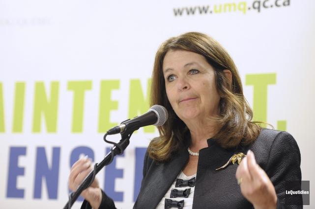 La présidente de l'UMQ, Suzanne Roy, de passage... (PHOTO GIMMY DESBIENS, ARCHIVES LE QUOTIDIEN)