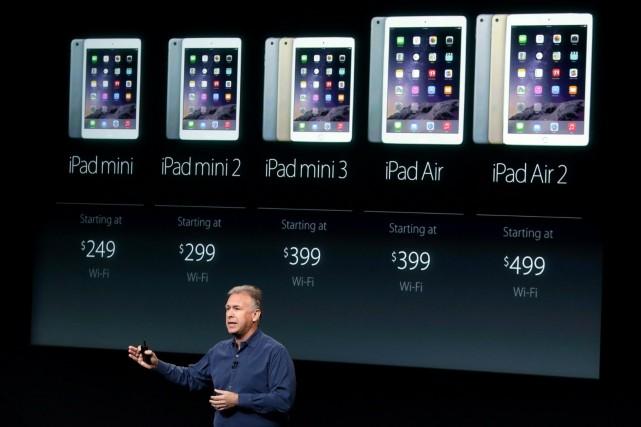 Phil Schiller, le vice-président marketing d'Apple, présente toute... (Photo AFP, Marcio Jose Sanchez)