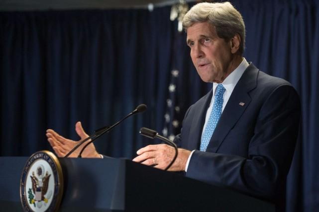 Le secrétaire d'État américain John Kerryrentre tout juste... (PHOTO NICHOLAS KAMM, AFP)