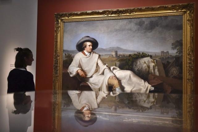 Le célèbre portrait de Goethe réalisé par Tischbein.... (Photo: AFP)