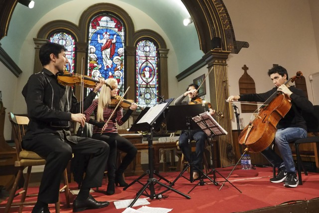 Le Quatuor Turovsky, dont le violoncelliste Stéphane Tétreault,... (photo Maxime Sauvage)