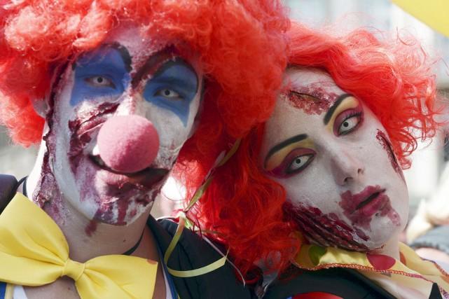 Le phénomène des faux clowns, «une mauvaise plaisanterie... (PHOTO FREDERICK FLORIN, ARCHIVES AFP)