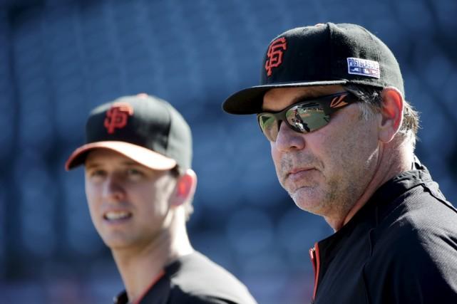 Le gérant des Giants, Bruce Bochy, et son... (Photo: AP)