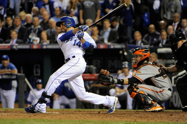 Omar Infante a donné un coup de massue... (Photo John Rieger, USA Today Sports)