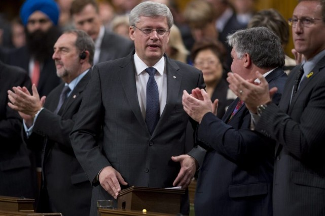 Le premier ministre du Canada Stephen Harper est... (La Presse Canadienne, Adrian Wyld)