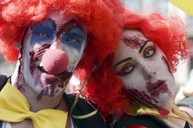 Une vague de terreur provoquée par des clowns agressifs s'est étendue au sud de... (Photo FREDERICK FLORIN, Archives AFP)