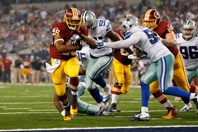 Alfred Morris (à gauche) a inscrit un touché... (Photo Matthew Emmons, USA Today Sports)