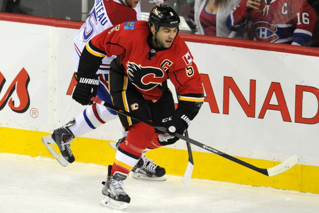 Le défenseur des Flames Mark Giordano a récolté... (Photo Candice Ward, USA Today Sports)