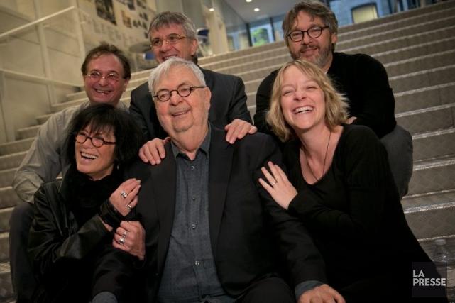 L'auteur Michel Tremblay était entouré hier des autres... (Photo: David Boily, La Presse)