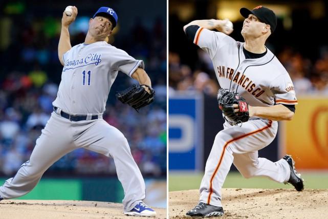Jeremy Guthrie et Tim Hudson seront les lanceurs... (Photos Don Boomer, archives AP)